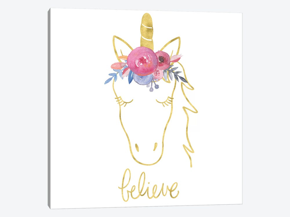 Golden Unicorn II Believe by Noonday Design 1-piece Canvas Wall Art