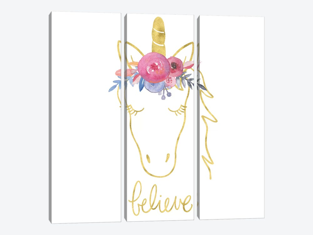 Golden Unicorn II Believe by Noonday Design 3-piece Canvas Artwork