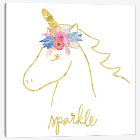 Golden Unicorn III Sparkle Canvas Print #NDD45} by Noonday Design Canvas Wall Art