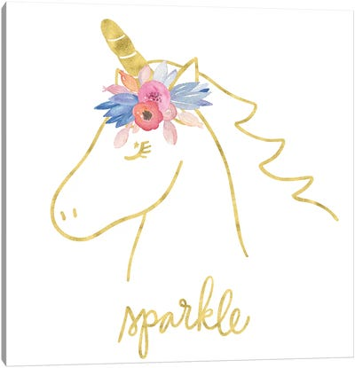 Golden Unicorn III Sparkle Canvas Art Print