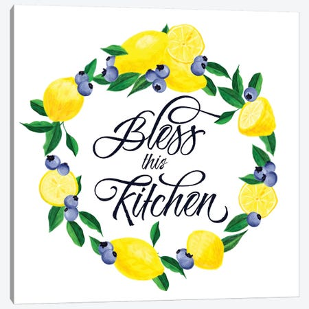 Lemon Blueberry Kitchen Sign I Canvas Print #NDD51} by Noonday Design Canvas Artwork