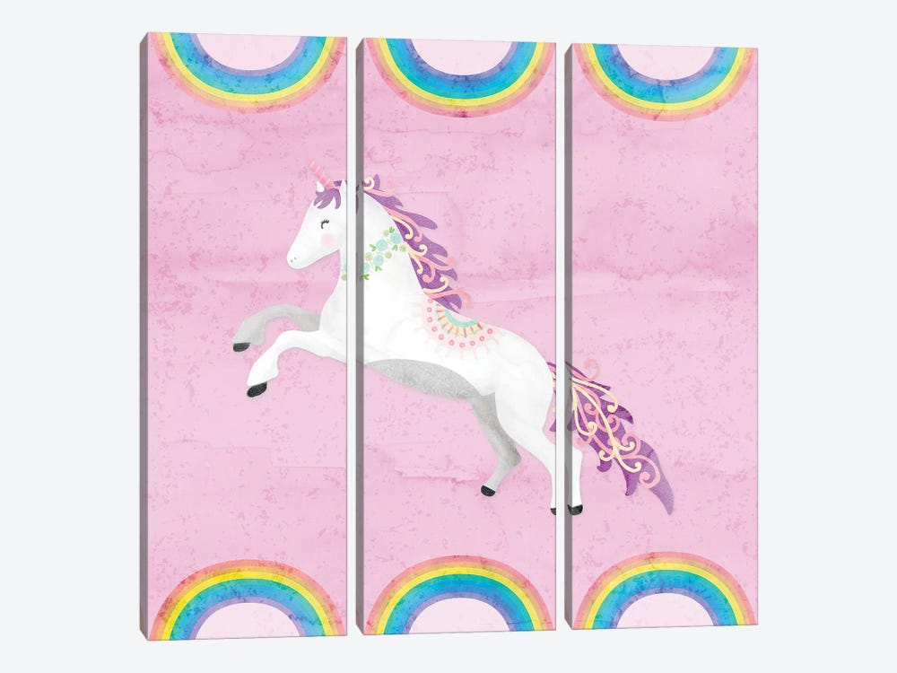 Rainbow Unicorn II by Noonday Design 3-piece Canvas Art