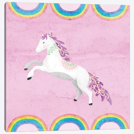 Rainbow Unicorn II Canvas Print #NDD75} by Noonday Design Canvas Art Print
