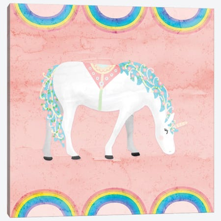 Rainbow Unicorn III Canvas Print #NDD76} by Noonday Design Art Print