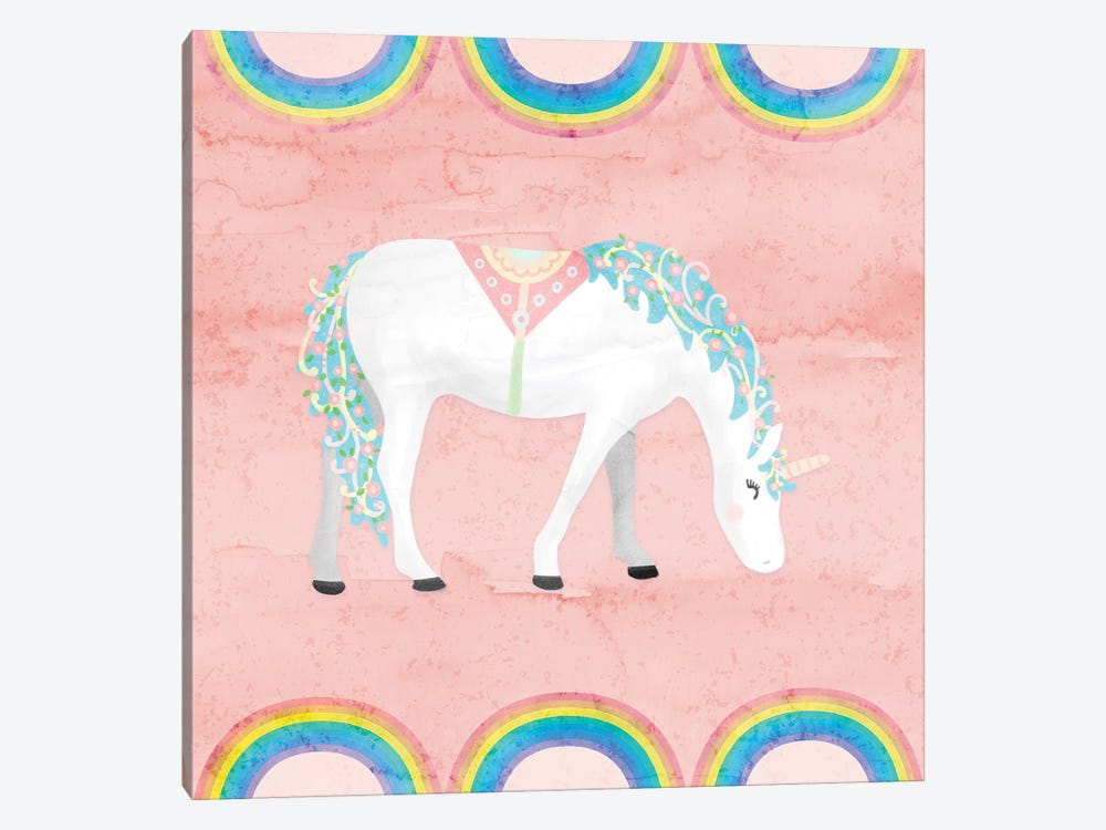 Rainbow Unicorn III by Noonday Design 1-piece Canvas Art Print