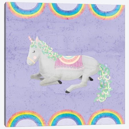 Rainbow Unicorn IV Canvas Print #NDD77} by Noonday Design Art Print