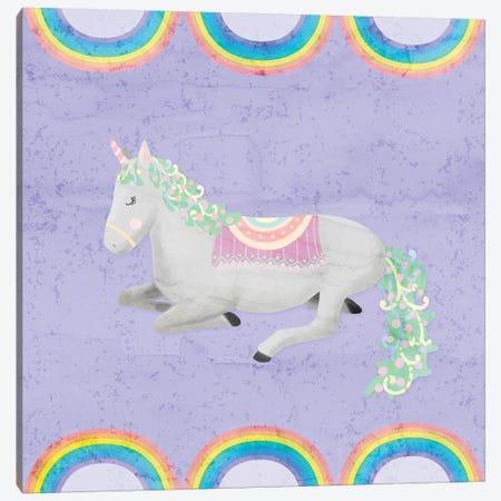 Rainbow Unicorn IV Canvas Print #NDD77} by Noonday Design Art Print