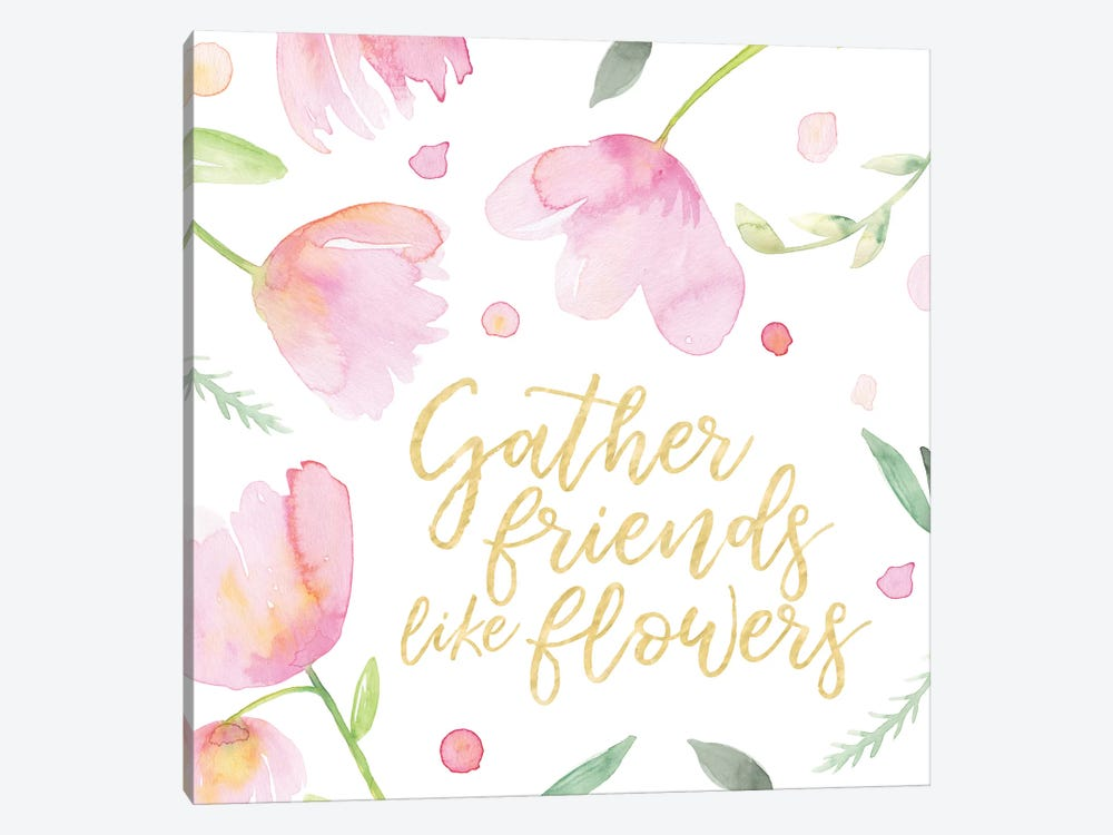 Soft Pink Flowers Friends I by Noonday Design 1-piece Canvas Artwork