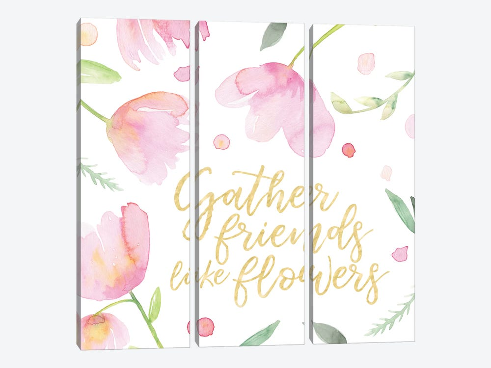 Soft Pink Flowers Friends I by Noonday Design 3-piece Canvas Art