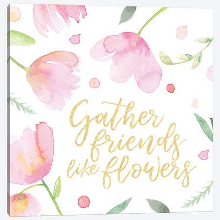 Soft Pink Flowers Friends I Canvas Print #NDD82} by Noonday Design Canvas Art Print