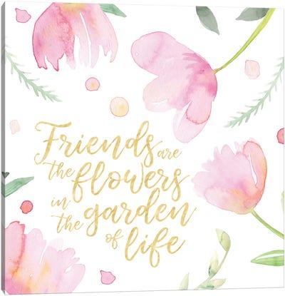 Soft Pink Flowers Friends II Canvas Art Print