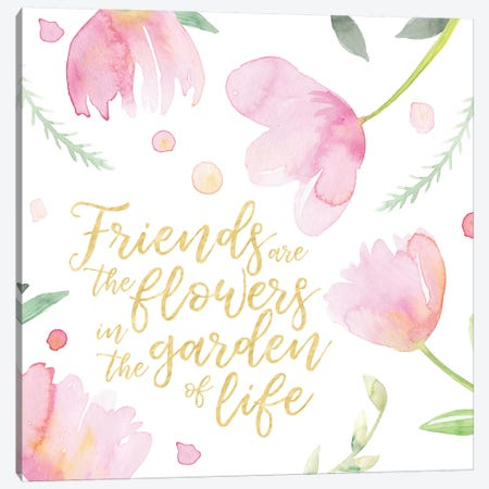 Soft Pink Flowers Friends II Canvas Print #NDD83} by Noonday Design Canvas Art Print