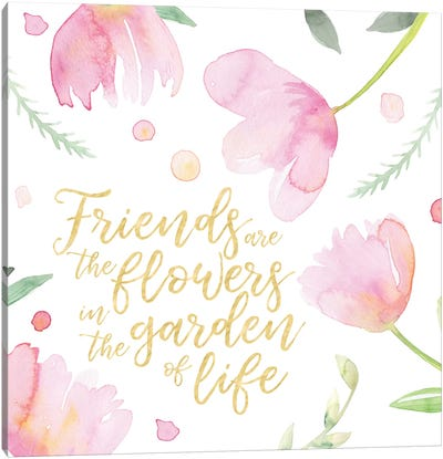 Soft Pink Flowers Friends II Canvas Art Print
