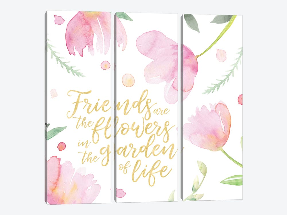Soft Pink Flowers Friends II by Noonday Design 3-piece Canvas Art Print