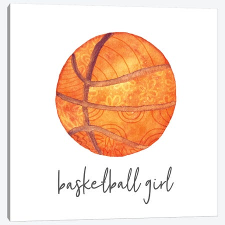Sports Girl Basketball Canvas Print #NDD84} by Noonday Design Canvas Artwork