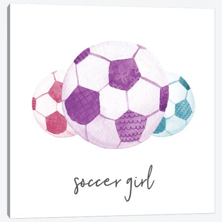 Sports Girl Soccer Canvas Print #NDD86} by Noonday Design Canvas Artwork