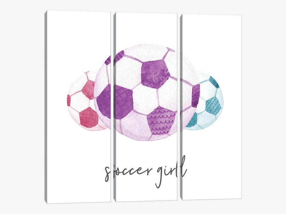 Sports Girl Soccer by Noonday Design 3-piece Canvas Artwork