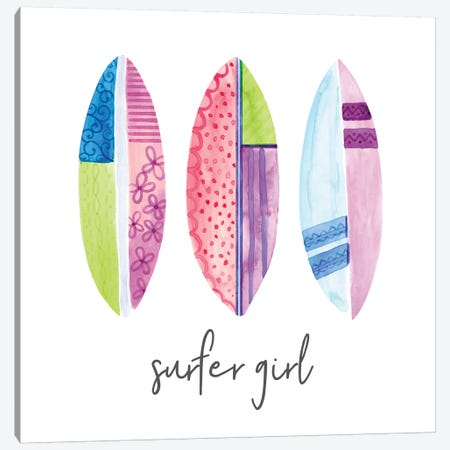 Sports Girl Surfer Canvas Print #NDD87} by Noonday Design Canvas Wall Art