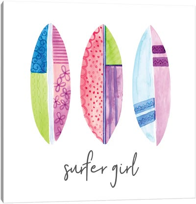 Sports Girl Surfer Canvas Art Print