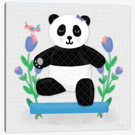 Tumbling Pandas I Canvas Print #NDD88} by Noonday Design Art Print