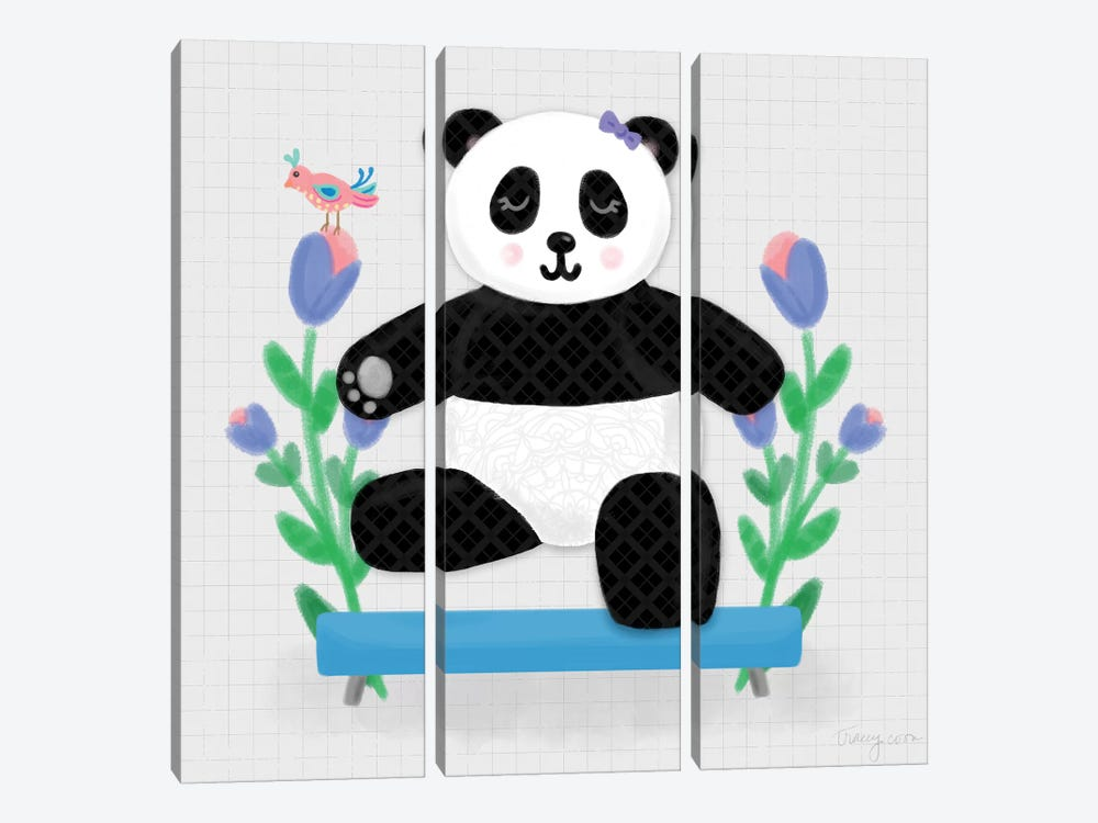 Tumbling Pandas I by Noonday Design 3-piece Canvas Artwork