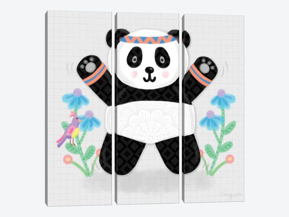 Tumbling Pandas III by Noonday Design 3-piece Art Print