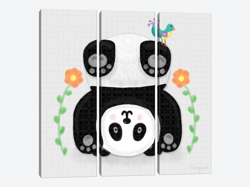 Tumbling Pandas IV by Noonday Design 3-piece Canvas Artwork