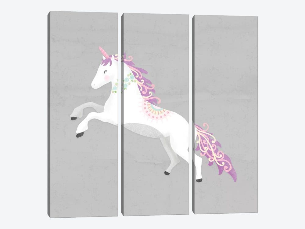 Unicorn Pastel II by Noonday Design 3-piece Canvas Wall Art