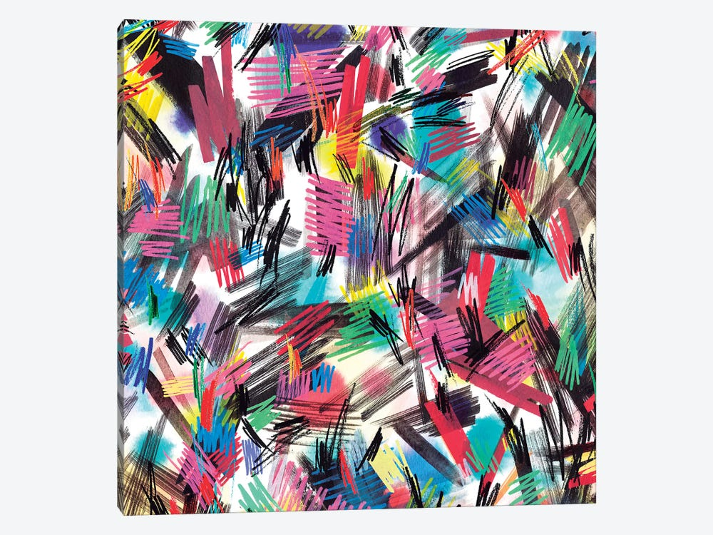 Wild Strokes Colorful by Ninola Design 1-piece Canvas Art Print