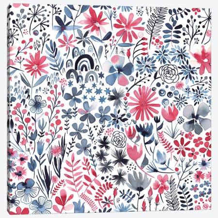Winter Ink Flowers Canvas Print #NDE105} by Ninola Design Canvas Art Print