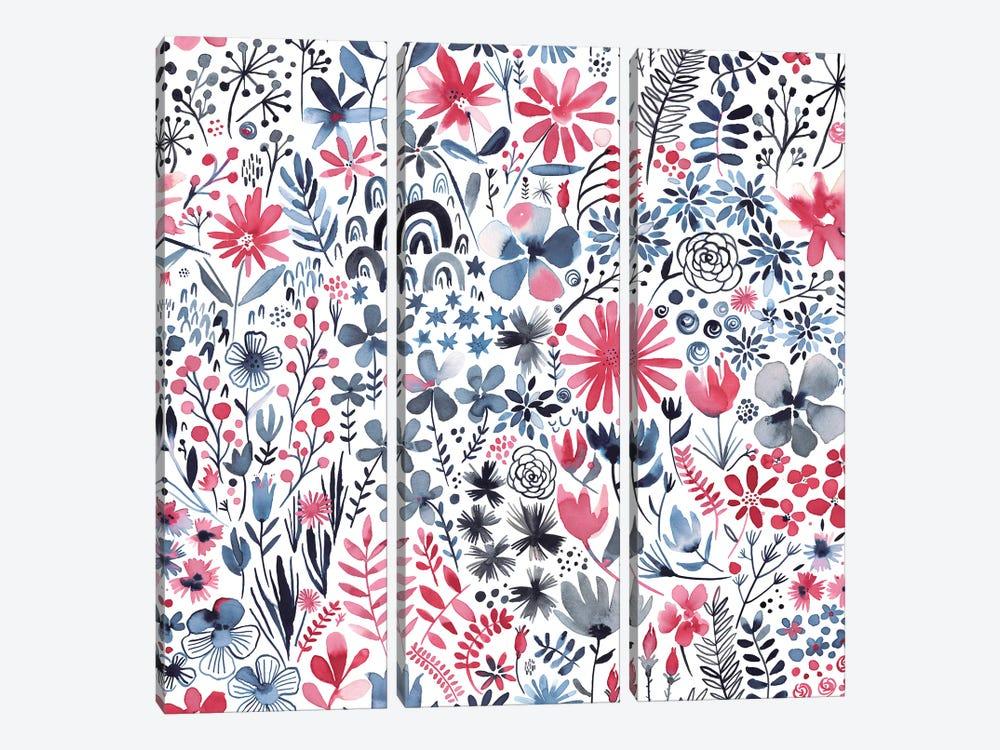 Winter Ink Flowers by Ninola Design 3-piece Canvas Artwork