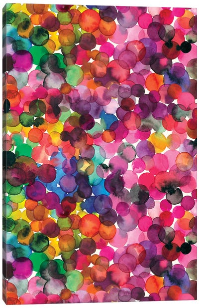 Overlapped Watercolor Dots Canvas Art Print