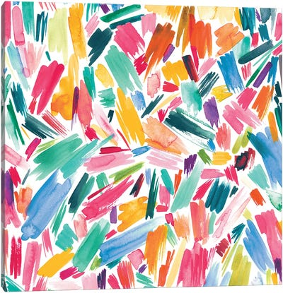 Artsy Abstract Strokes Colorful Canvas Art Print