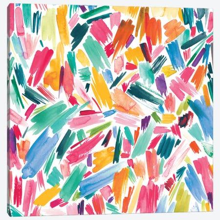 Artsy Abstract Strokes Colorful Canvas Print #NDE10} by Ninola Design Canvas Print