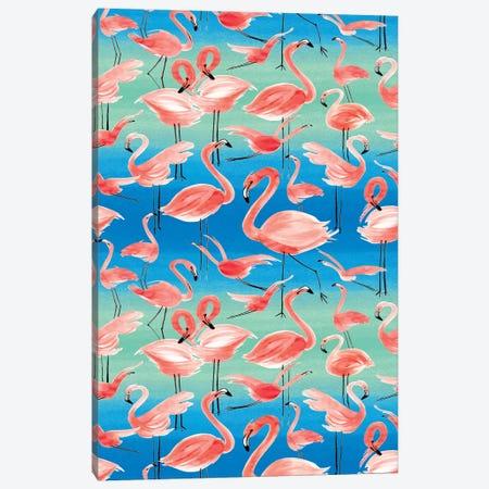 Flamingos Pink Canvas Print #NDE110} by Ninola Design Art Print