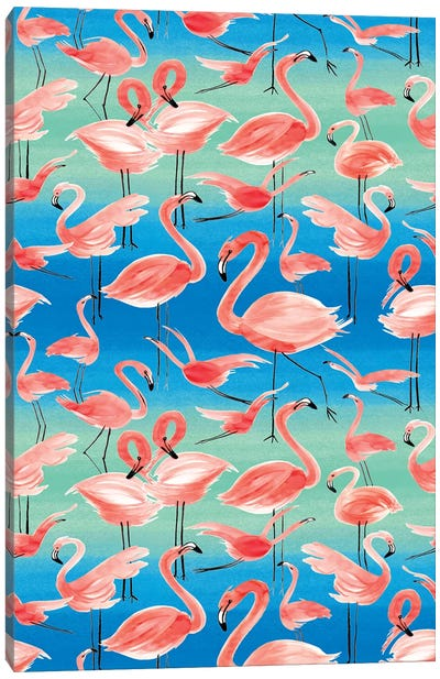 Flamingos Pink Canvas Art Print