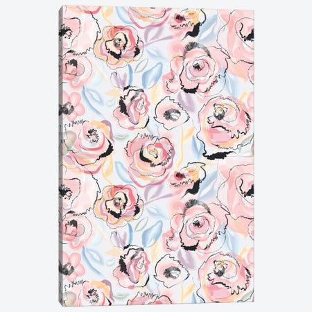 Scribble Flowers Pastel Canvas Print #NDE115} by Ninola Design Canvas Wall Art