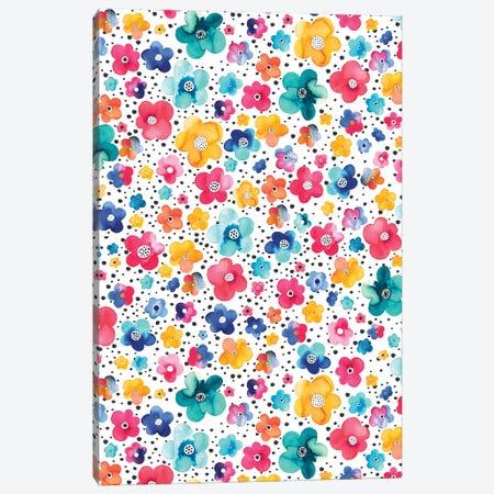 Dots Naive Flowers Multi Canvas Print #NDE119} by Ninola Design Canvas Print