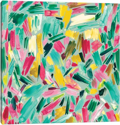 Artsy Abstract Strokes Colorful Green Canvas Art Print