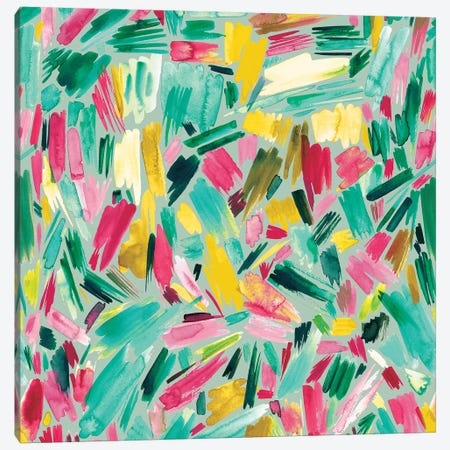 Artsy Abstract Strokes Colorful Green Canvas Print #NDE11} by Ninola Design Canvas Art Print