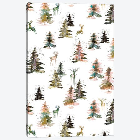Winter Deers Forest Rustic Canvas Print #NDE120} by Ninola Design Canvas Artwork