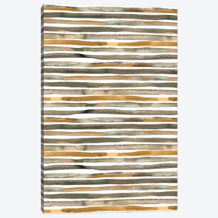 Watercolor Stripes Green Yellow Canvas Print #NDE121} by Ninola Design Canvas Artwork
