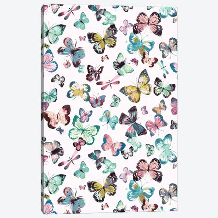 Watercolor Butterflies Pink Green Canvas Print #NDE124} by Ninola Design Art Print