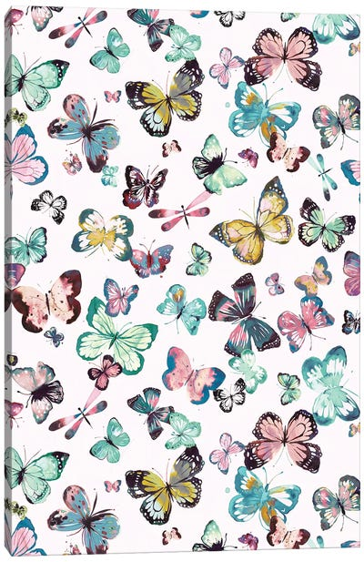 Watercolor Butterflies Pink Green Canvas Art Print