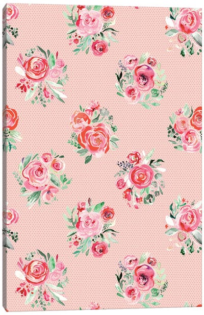 Sweet Roses Blooms Bouquets Sweet Pink Canvas Art Print