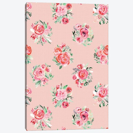Sweet Roses Blooms Bouquets Sweet Pink Canvas Print #NDE127} by Ninola Design Art Print