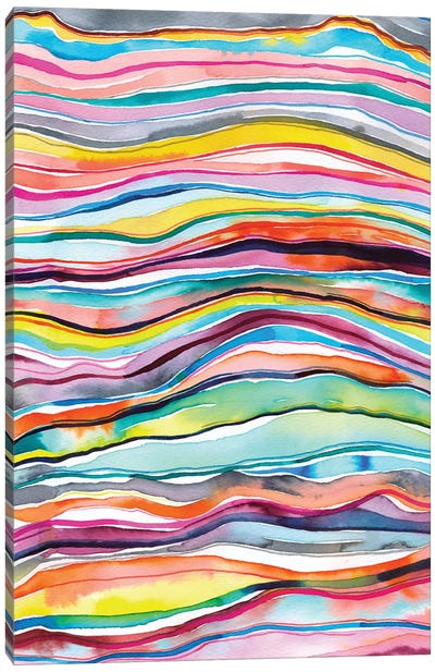 Mineral Marble Agate Layers Watercolor Colorful Canvas Art Print