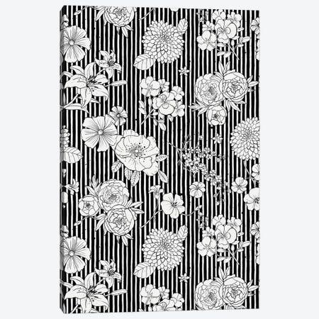 Flowers And Stripes Black White Canvas Print #NDE138} by Ninola Design Canvas Art Print