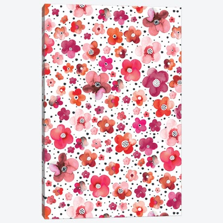 Dots Naive Flowers Red Canvas Print #NDE141} by Ninola Design Canvas Art