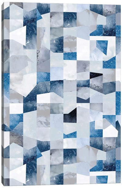 Collage Texture Shapes Blue Canvas Art Print